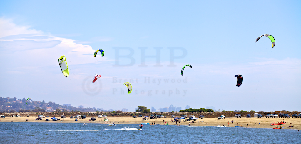 San Diego Stock Landscape Photography of Mission Bay Kite Surfing